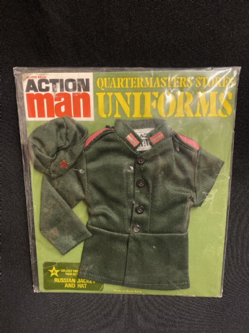 VINTAGE ACTION MAN -  QUARTERMASTERS STORES -  RUSSIAN JACKET AND HAT (Carded)